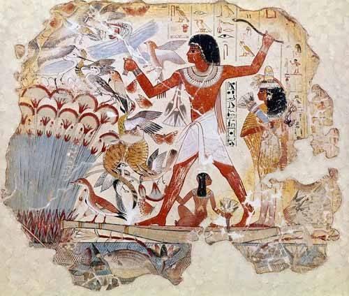 orientalische-gemaelde - Fresco en Thebes,- Casa de pajaros - _Anonym Ägypten