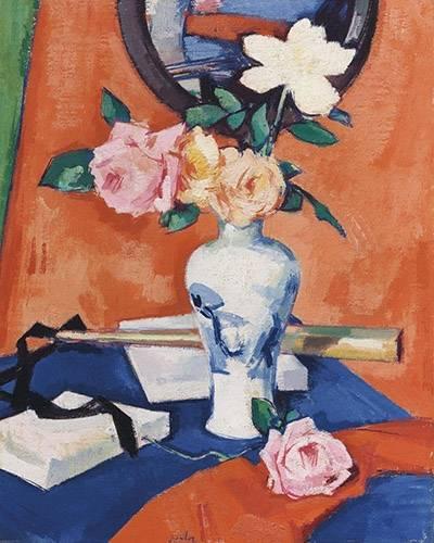 blumen-und-pflanzen - Roses in a vase against an orange background - Peploe, Samuel