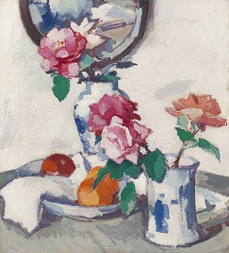 stillleben-gemaelde - Still life with roses and fruit - Peploe, Samuel