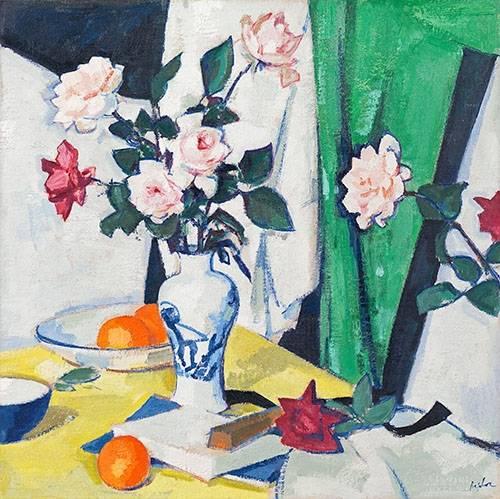 stillleben-gemaelde - Pink and red roses in a Chinese vase - Peploe, Samuel