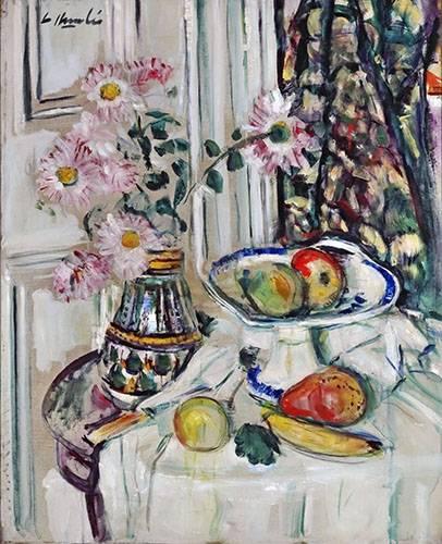 stillleben-gemaelde - Still Life With Daisies and Fruit - Hunter, G.L.