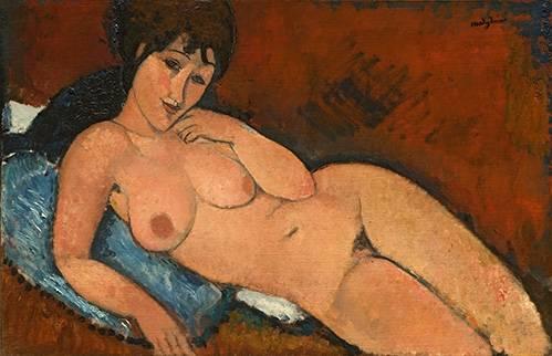 portraetgemaelde - Nude on a Blue Cushion - Modigliani, Amedeo