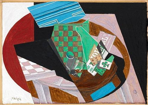 abstrakte-gemaelde - Schachbrett- und Spielkarten, 1915 - Gris, Juan