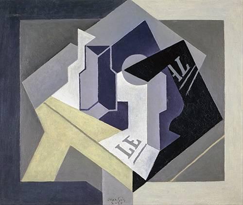 abstrakte-gemaelde - Obstschale und Zeitung - Gris, Juan