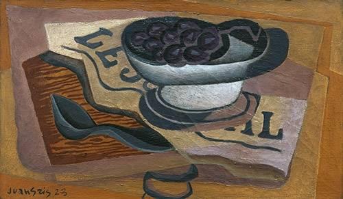 stillleben-gemaelde - Schwarze Trauben, 1923 - Gris, Juan