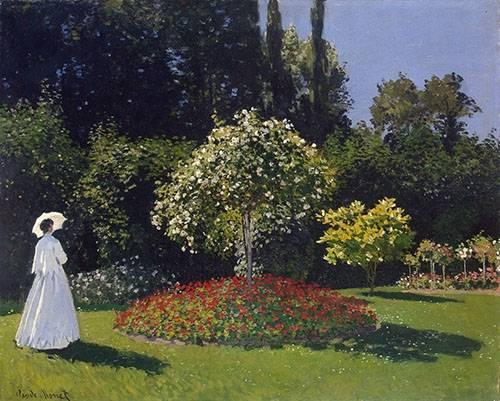 landschaften-gemaelde - Dame en blanc au jardin - Monet, Claude