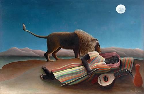 landschaften-gemaelde - La Bohémienne endormie - Rousseau, Henri
