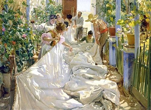 portraetgemaelde - Cousant la voile, 1896 - Sorolla, Joaquin