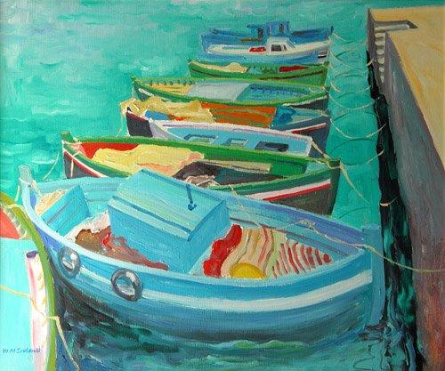 moderne-gemaelde - Blue Boats, 2003 - Ireland, William