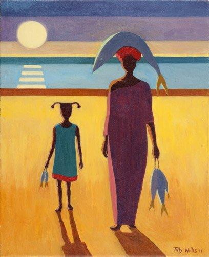 orientalische-gemaelde - Woman with Fish (oil on canvas) - Willis, Tilly