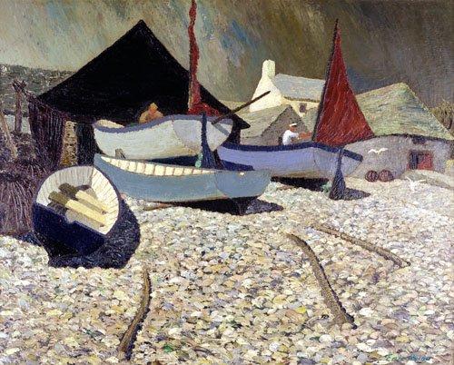 bilder-fuer-ein-wohnzimmer - Cadgwith, the Lizard (oil on canvas) - Hains, Eric