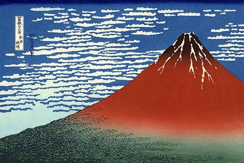 orientalische-gemaelde - Fuji Rouge, vent du sud, temps clair - Hokusai, Katsushika