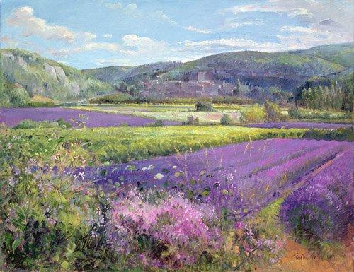 bilder-fuer-ein-wohnzimmer - Lavender Fields in Old Provence - Easton, Timothy