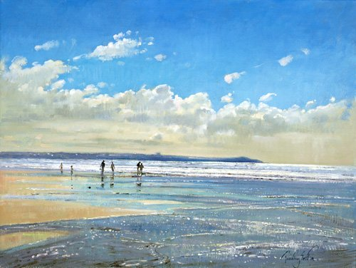 seelandschaft - Paddling at the Edge (oil on canvas) - Easton, Timothy