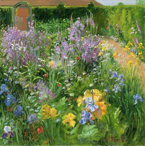 bilder-fuer-ein-wohnzimmer - Sweet Rocket, Foxgloves and Irises, 2000 - Easton, Timothy