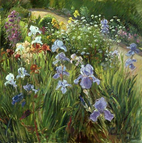 bilder-fuer-ein-wohnzimmer - Irises and Oxeye Daisies, 1997 - Easton, Timothy