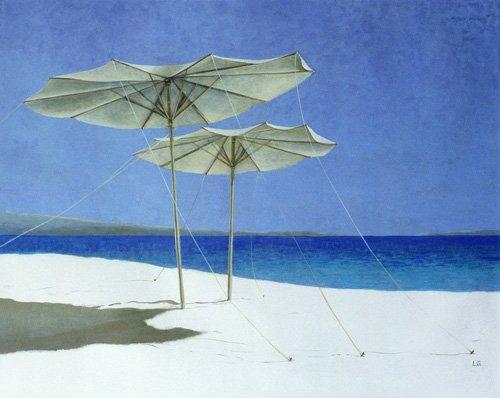 seelandschaft - Umbrellas, Greece, 1995 - Seligman, Lincoln