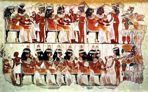 orientalische-gemaelde - Fresco en Thebes,- Banquete - _Anonym Ägypten