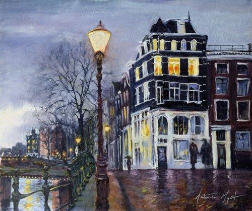 moderne-gemaelde - At Dusk, Amsterdam, 1999 - Myatt, Antonia