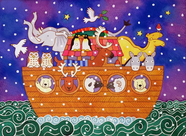 kinderzimmer - Christmas Ark, 1999 (w.c and pastel on paper) - Baxter, Cathy
