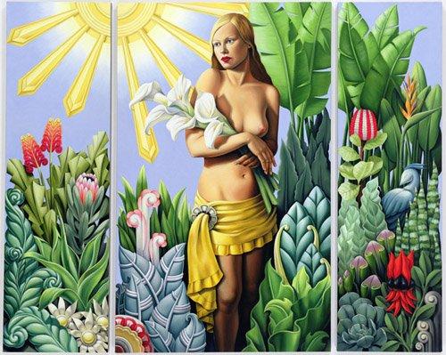 bilder-fuer-ein-schlafzimmer - Eden (triptych) (oil on linen) - Abel, Catherine