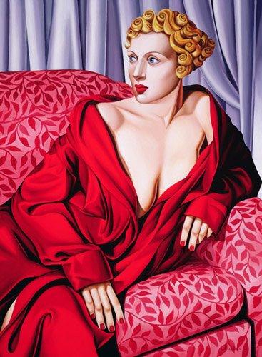bilder-fuer-ein-schlafzimmer - Red Kimono (oil on canvas) - Abel, Catherine