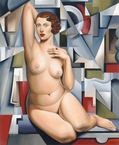 portraetgemaelde - Sitzender kubistischer Akt - Abel, Catherine