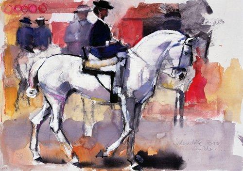 bilder-fuer-ein-wohnzimmer - Side-saddle at the Feria de Sevilla, 1998 (mixed media on paper) - Adlington, Mark