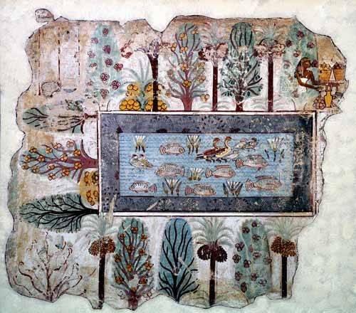 orientalische-gemaelde - Fresco en Thebes,- Estanque en un jardin - _Anonym Ägypten
