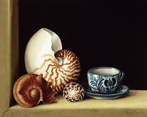 stillleben-gemaelde - Still life with Nautilus, 1998 (w.c on paper) - Barron, Jenny