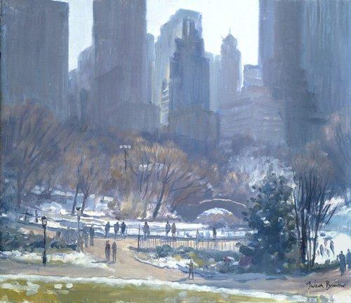 moderne-gemaelde - Winter in Central Park, New York, 1997 (oil on canvas) - Barrow, Julian