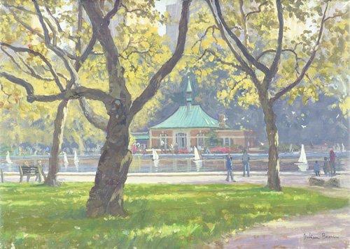 moderne-gemaelde - Boat Pond, Central Park (oil on canvas) - Barrow, Julian