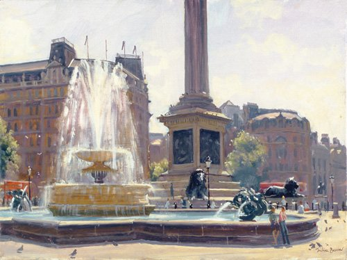 moderne-gemaelde - Trafalgar Square, London (oil on canvas) - Barrow, Julian