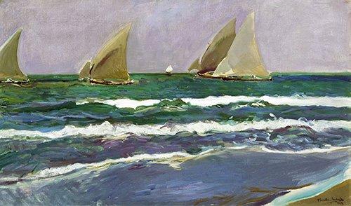 seelandschaft - Quatre voiliers dans la mer, Valence, 1908 - Sorolla, Joaquin
