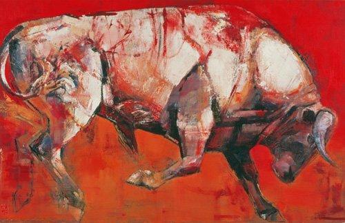 bilder-fuer-ein-wohnzimmer - The White Bull, 1999 (oil on board) - Adlington, Mark