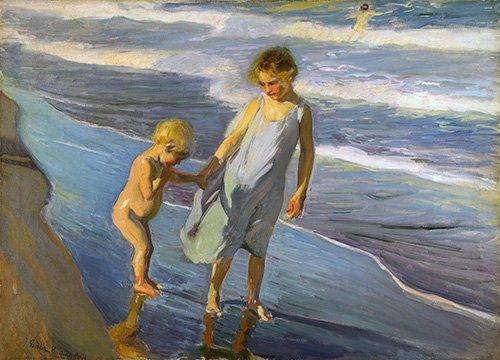 seelandschaft - Deux enfants sur une plage - Sorolla, Joaquin