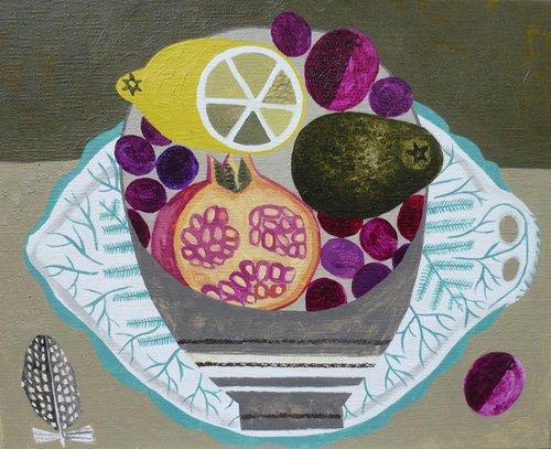 moderne-gemaelde - Obstschale auf Farnplatte - Bowman, Vanessa