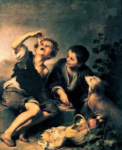 portraetgemaelde - Niños comiendo pasteles - Murillo, Bartolome Esteban