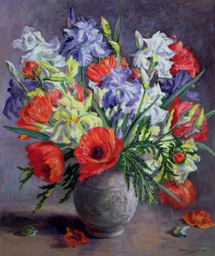 blumen-und-pflanzen - Poppies and Irises, 1991 - Durose, Anthea