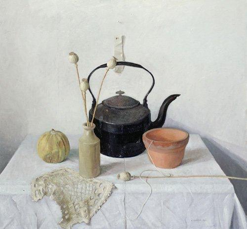 stillleben-gemaelde - Kettle, Poppyheads and Gourd, Still Life, 1990 - Easton, Arthur