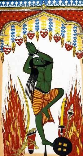 orientalische-gemaelde - Ardjama, hombre santo, rezando en penitencia - _Anonym Indien