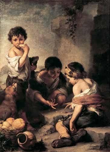 portraetgemaelde - Niños jugando a los dados - Murillo, Bartolome Esteban