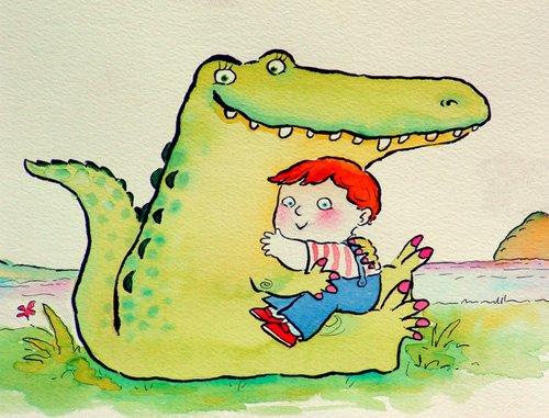 kinderzimmer - Crocodile Hug, or Best Friends (pen & ink and w.c on paper) - Christie, Maylee