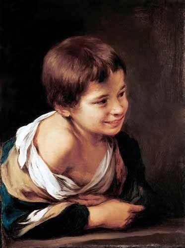 portraetgemaelde - Niño apoyado en un alfeizar - Murillo, Bartolome Esteban