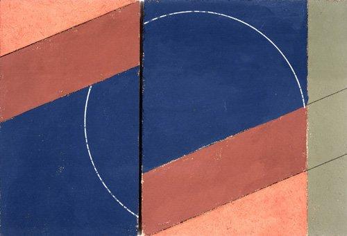 abstrakte-gemaelde - Painting - Interrupted Circle, 2000 (oil on board) - Dannatt, George
