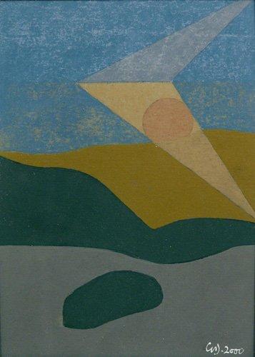 abstrakte-gemaelde - Untitled, 2000 (oil on card) - Dannatt, George