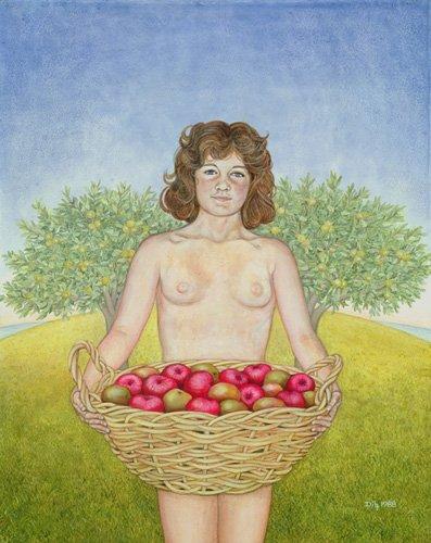 moderne-gemaelde - Ein Apfel am Tag, Triptychon Teil zwei - Ditz