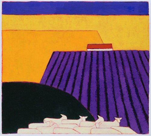 moderne-gemaelde - Schaf- und Lavendelfelder, 2004 - Donne, Eithne