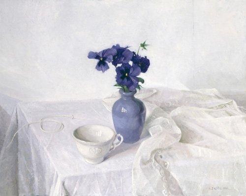stillleben-gemaelde - Pansies in a Blue Vase, Still Life, 1990 - Easton, Arthur
