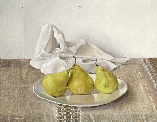 stillleben-gemaelde - Three Pears on a Plate, Still Life, 1990 - Easton, Arthur